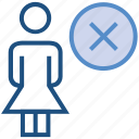 cross, female, people, person, remove, stand, user icon
