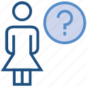 female, help, people, person, question mark, stand, user icon