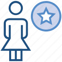 favorite, female, people, person, stand, star, user icon