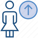 female, people, person, stand, up arrow, uploading, user icon