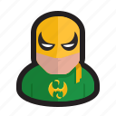 arts, fist, iron, martial, marvel, mask icon