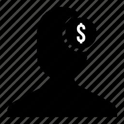 bussinessman, currency, dollar, finance, money, user icon