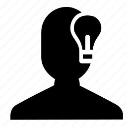 idea, lamp, light, man, person, thinking, user icon