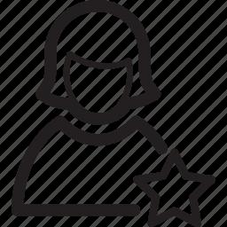 bookmark, favourite, female, profile, star, user, woman icon
