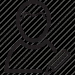 edit, male, man, pen, profile, user icon