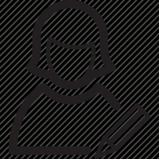 edit, female, pen, profile, user, woman icon