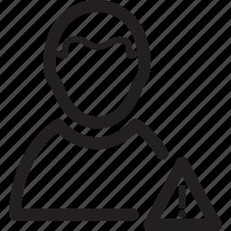 alert, male, man, message, user, warning icon