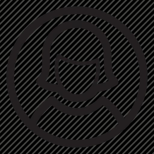 circle, female, person, profile, woman icon