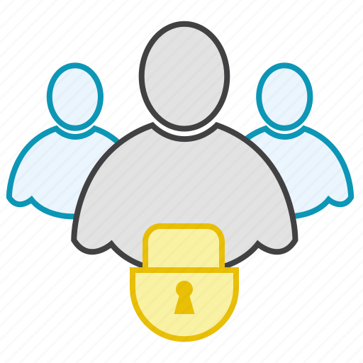 friends, group, lock, network, users icon