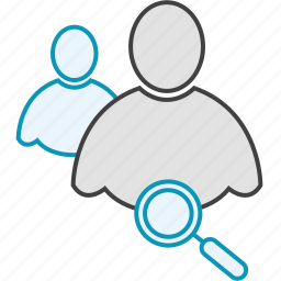 friends, glass, group, network, search, users icon