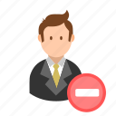 account, business, businessman, delete, remove, user icon
