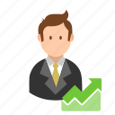 account, business, businessman, chart, profile, report, user icon