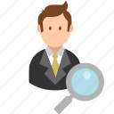 account, avatar, businessman, magnifier, search, user, zoom icon