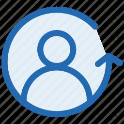 avatar, backward, customer, person, profile, reverse user, user icon