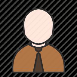 avatar, brown, business, job, tie, user, work icon