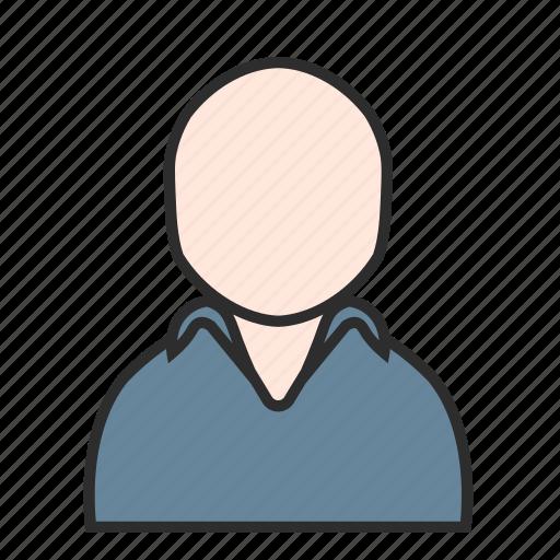 avatar, blue, golf, male, polo, shirt, user icon