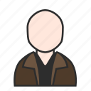 avatar, brown, casual, jacket, male, person, user icon