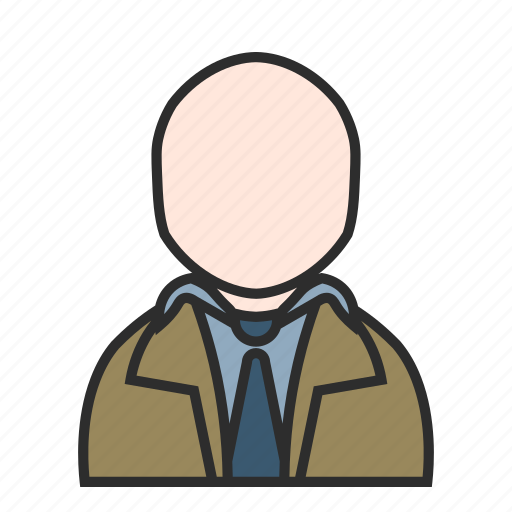 coat, detective, old, sand, trench, user, work icon