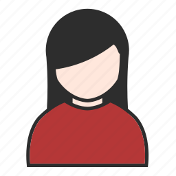 account, avatar, girl, people, red, user, woman icon