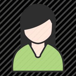 female, girl, green, profile, top, user, woman icon