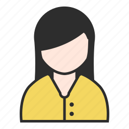 clothing, female, girl, shirt, user, woman, yellow icon