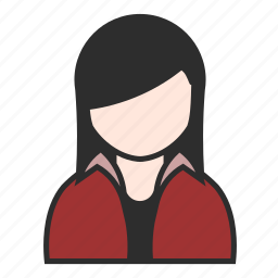 avatar, face, girl, jacket, red, user, woman icon