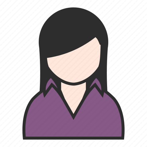 blouse, client, female, girl, purple, user, woman icon