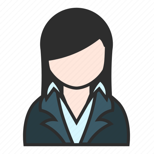 blue, business, girl, jacket, suit, user, woman icon