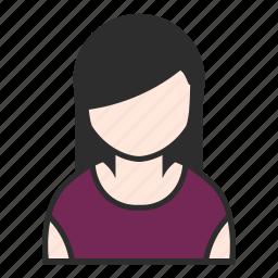 account, avatar, dress, female, purple, user, woman icon
