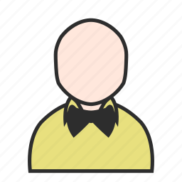 account, bowtie, person, shirt, tie, user, yellow icon