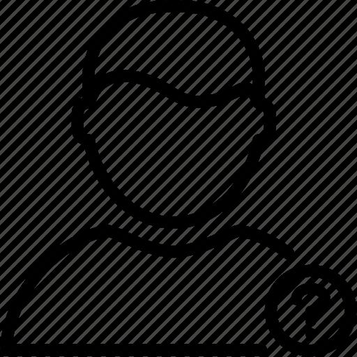 account, man, mark, person, profile, question, user icon