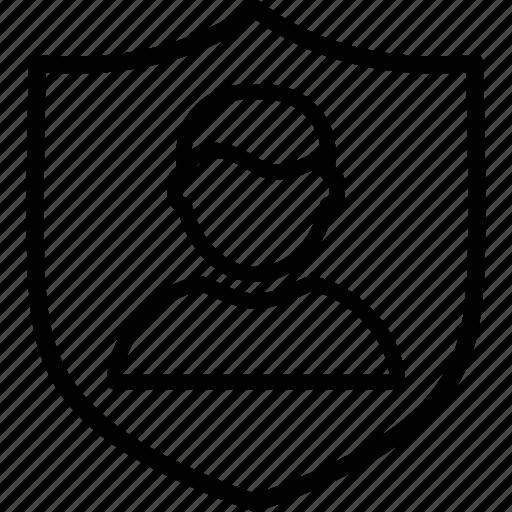 account, avatar, man, person, profile, shield, user icon