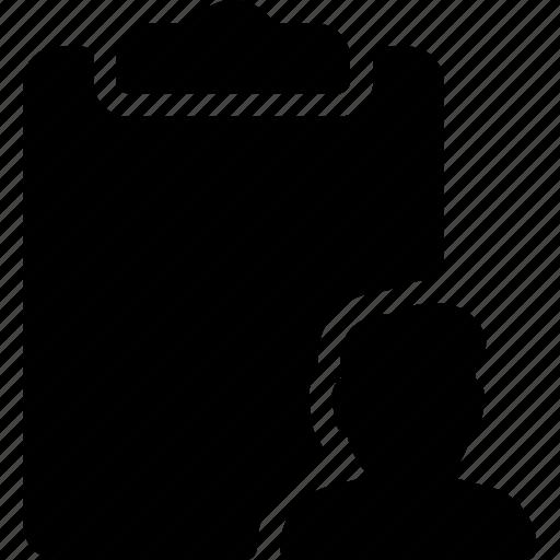 clipboard, person, profile, report, user icon