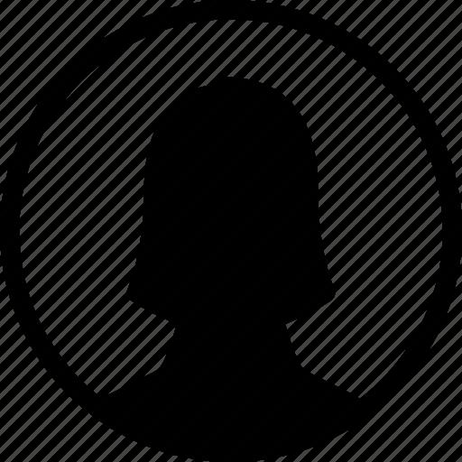 circle, female, profile, user, woman icon
