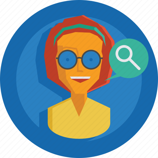 avatar, character, girl, magnifier, people, person, search, team, team member, testimonial, user, woman icon