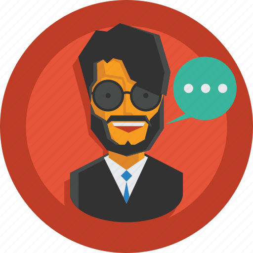 avatar, business, businessman, character, man, person, speech, suit, talk, team member, testimonial, user icon