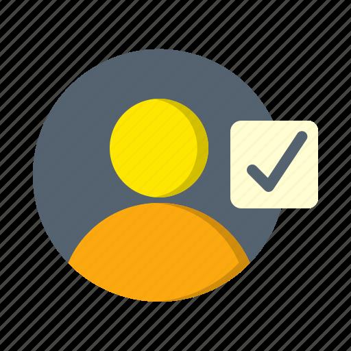 account, avatar, check, profile, select, user icon