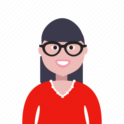 account, avatar, four-eyes, girl, glasses, lady, learner, profile, student icon