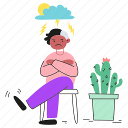 angry, over, irritable, upset, cactus, furious, cloud, user, cloudy, annoyed, storm, sit, head