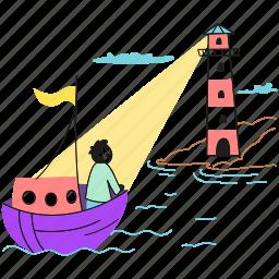 shore, destination, illuminate, user, way, ship, light, find, boat, the, lighthouse