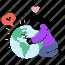 love, peace, girl, hug, world, globe