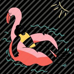 rest, relax, swan, water, pool, pool float