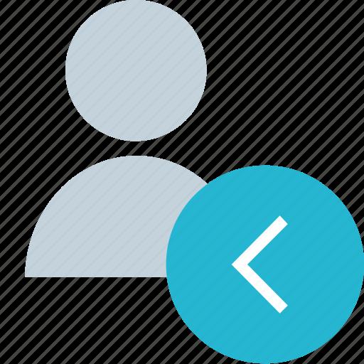 arrow, back, left, user icon