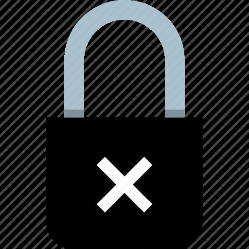 delete, lock, locked, x icon