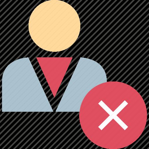 delete, negative, user icon