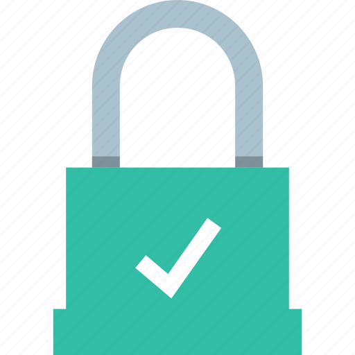 checkmark, good, lock, safe icon
