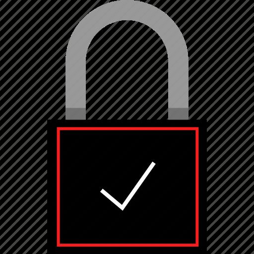 check, lock, mark, safe icon