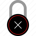 cross, delete, lock, locker icon