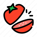 chop, cooking, food, slice, tomato, vegetables icon