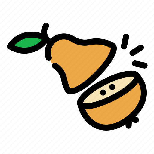 chop, cooking, food, fruit, pear, slice icon